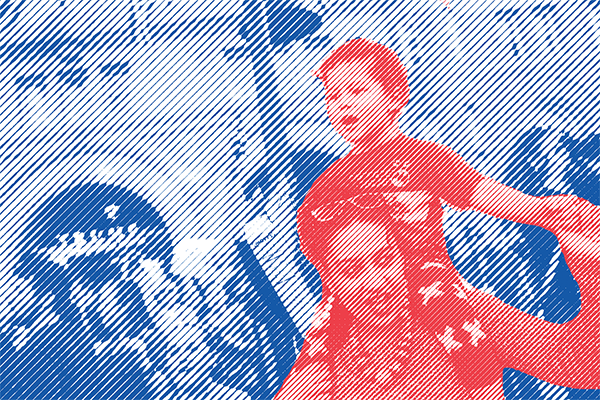 Collage of woman and child in an immigration rally