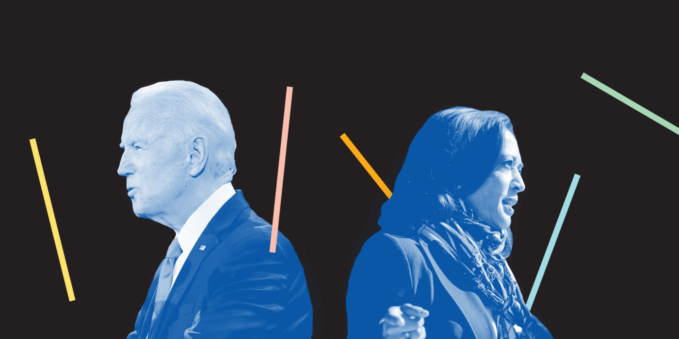 Image of Joe Biden and Kamala Harris Back to Back