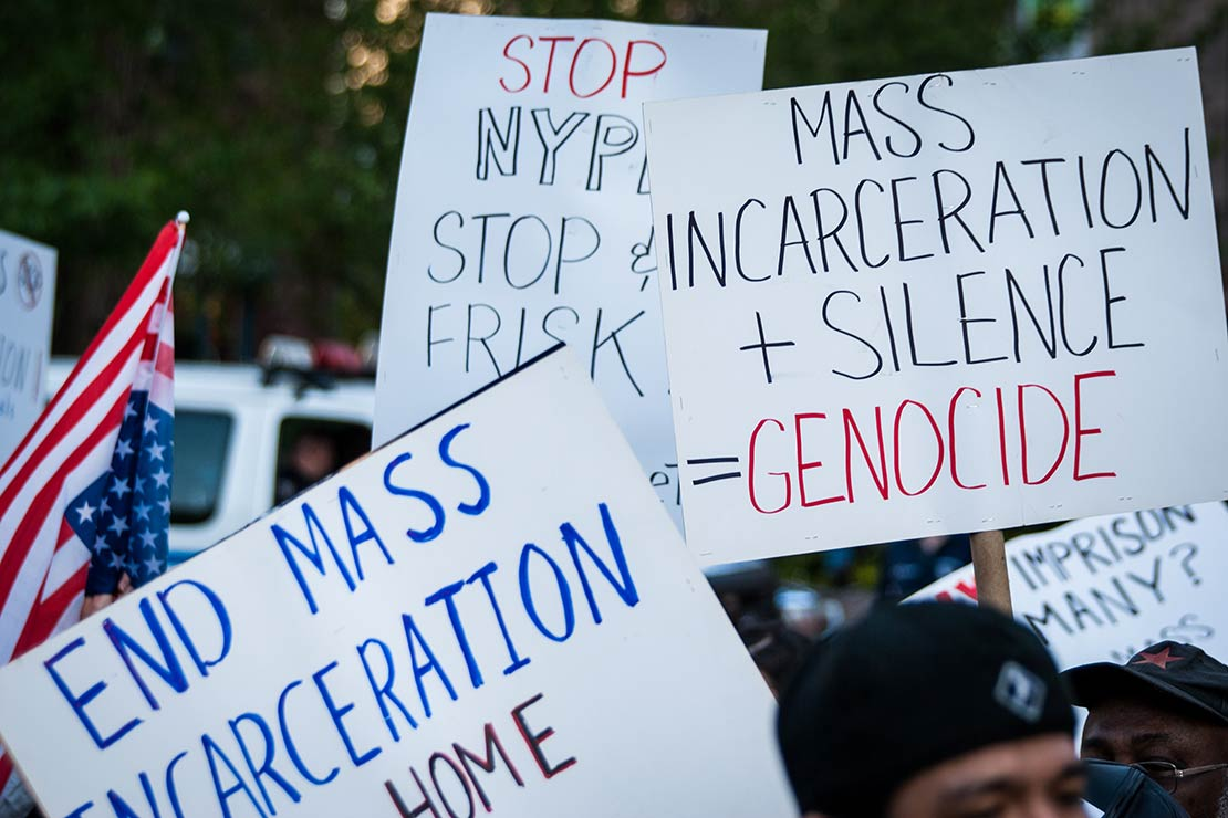 Protest signs against mass incarceration