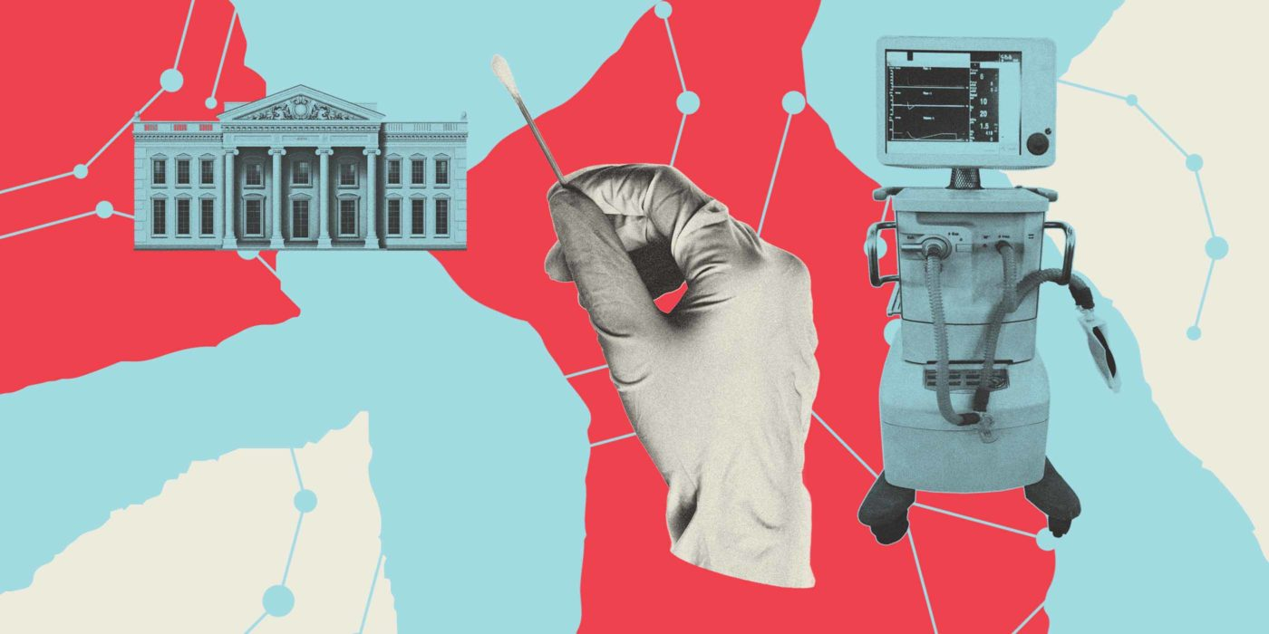 Montage of White House, gloved hand holding swab, and hospital monitor.