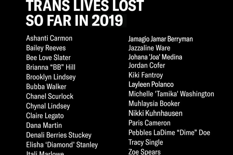 Trans lives lost so far in 2019