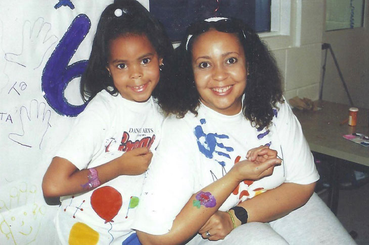 Mother and daughter in white painted T-shirts