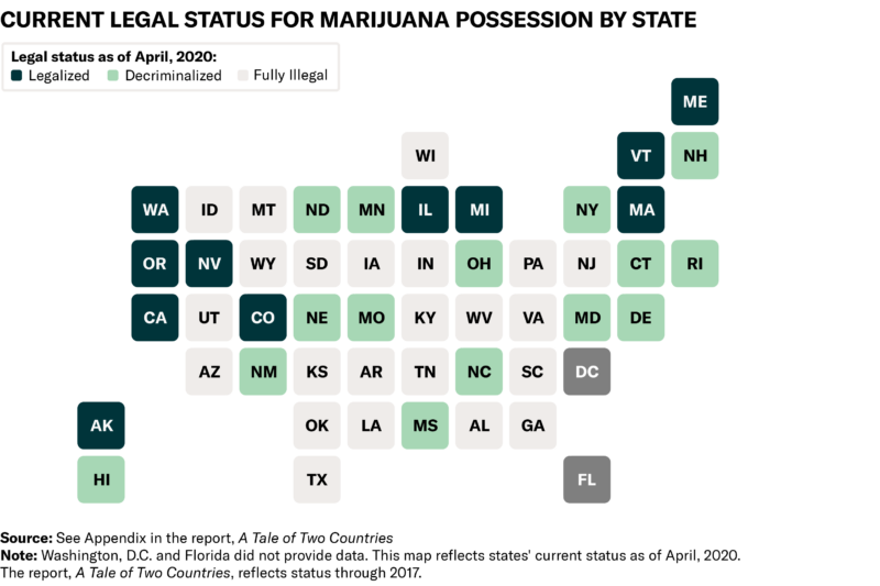 Map showing legal status for marijuana possession by state in 2019.