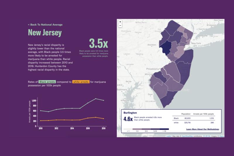 Map of New Jersey racial disparities in marijuana arrests