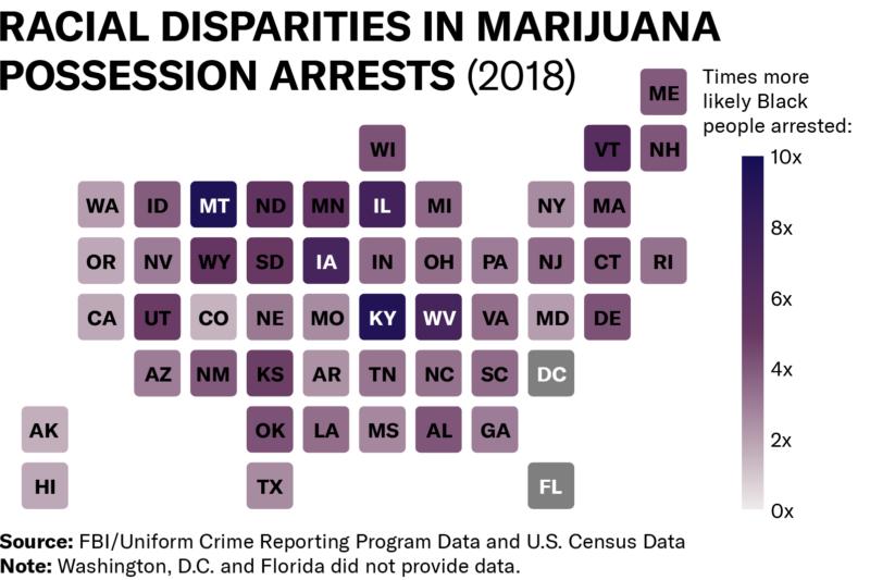 Map of racial disparities in marijuana possession arrests in 2018