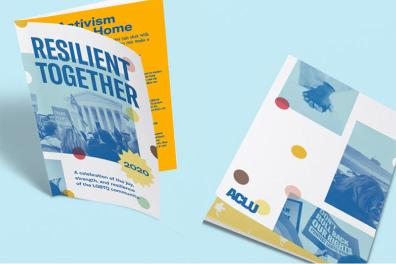 """ACLU's Pride 2020 Zine titled """"Resilient Together"""""""