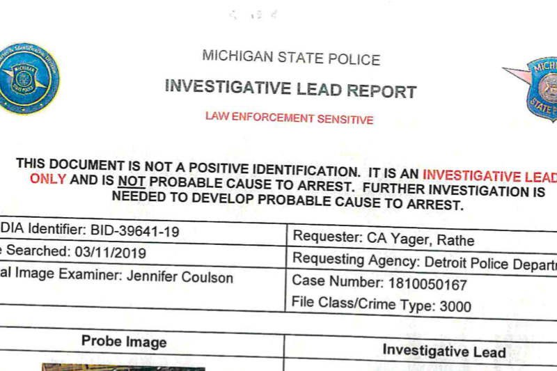 Michigan State Police Investigative Lead Report