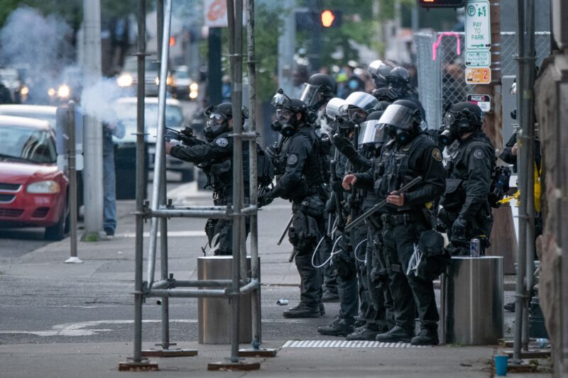 On May 31, Portland Police officers indiscriminately fired into crowds of protesters in front of the Justice Center.