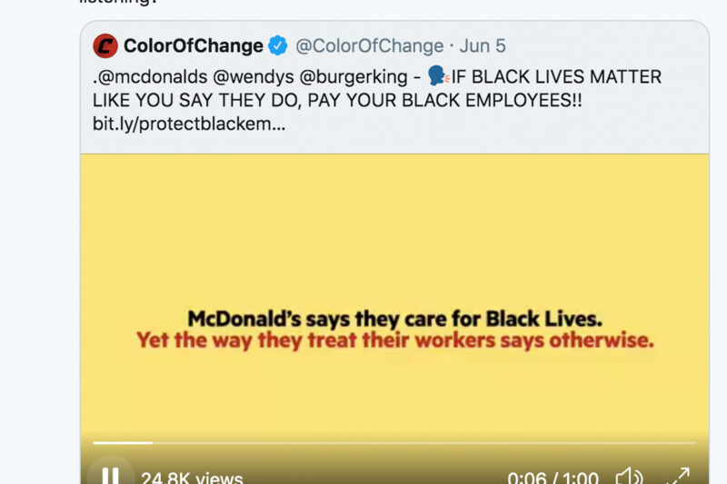 "A tweet sent from the ACLU account calling out McDonalds for ""woke-washing"""