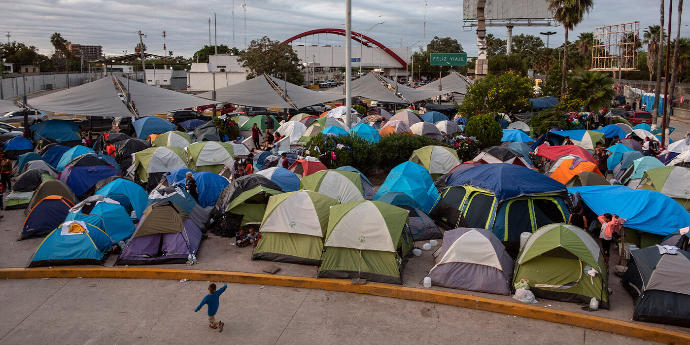Refugee camp for migrants and asylum seekers in Matamoros, Mexico, October 2019.