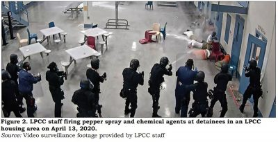 Image from official report showing LPCC officers firing tear gas at prisoners.